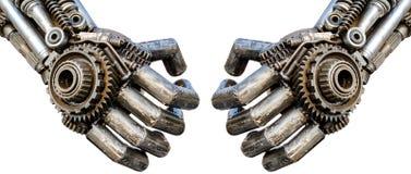 Hand av den metalliska cyberen eller robot som göras från mekaniska spärrhjular bo Arkivbild