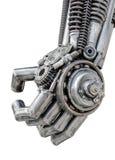 Hand av den metalliska cyberen eller robot som göras från mekaniska spärrhjulbultar och muttrar Arkivfoto