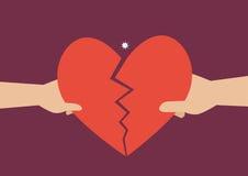 Hand av en man och en kvinna som ifrån varandra river hjärtasymbol Arkivfoton