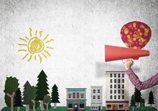 Hand av för oangepapper för kvinna den hållande trumpeten mot illustrerad bakgrund Royaltyfri Bild