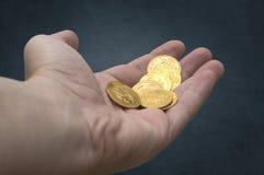 Hand av guld- mynt Royaltyfri Fotografi