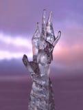 Hand av isskulptur Arkivbild
