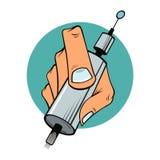 Hand av tatueringkonstnären med backgrounen för tatueringmaskinblått vektor illustrationer