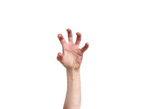 Hand in awkward frustrated overstretched position isolated Stock Image