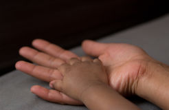 Hand of a baby in his mother's hand Stock Photography