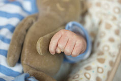 The hand of the baby striped suit Stock Photo