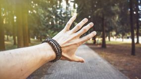 Hand background and nature blur royalty free stock images