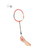 Hand with badminton racket Stock Images