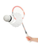 Hand with badminton racket Royalty Free Stock Image