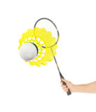 Hand with badminton racket and shuttlecock Royalty Free Stock Image