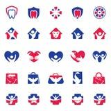 People and kids care logo design, hospital and dental symbols, hand bag, bird, lion icons collection. Charity, peace logo. Hand bag, bird, lion icons collection royalty free illustration