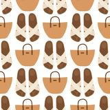 Hand bag female fashion seamless pattern background luxury style elegance purse accessory vector illustration. Royalty Free Stock Images