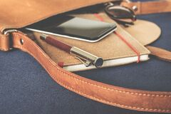 Hand bag with journal and phone Royalty Free Stock Images