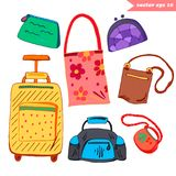 Luggage set. Hand bag and luggage colored set. Hand drawn  illustration. Elements for stickers, your travel design, posters, decorations Stock Images
