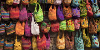 Hand bags. Colourful hand bags displayed for sale at Rhodes market stock photography