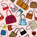 Hand bags fashion seamless background. Stock Photos