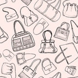 Hand bags fashion seamless sketch pattern. Stock Photography