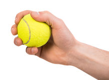 Hand with a ball. Hand holding tennis ball on white background Royalty Free Stock Photography
