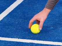Hand of a ball kid picking up a Tennis ball. From a blue artificial grass court, Melbourne, Australia 2015 stock photo
