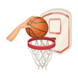 Hand with a ball near the basket.Basketball single icon in cartoon style vector symbol stock illustration web. Stock Image