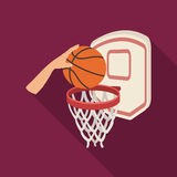 Hand with a ball near the basket.Basketball single icon in flat style vector symbol stock illustration web. Royalty Free Stock Photos