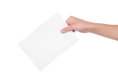 Hand with ballot. Isolated on white background Stock Images
