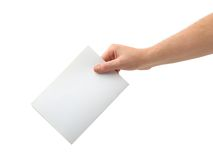 Hand with ballot. Isolated on white background Stock Photography