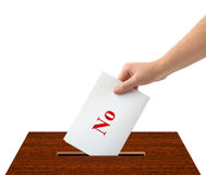 Hand with ballot and box Stock Images