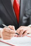 Hand with ballpoint Royalty Free Stock Photos