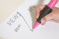Hand with ballpoint on news board Stock Photo