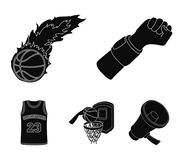 Hand with a bandage, a fireball, a ball in the basket, a form. Basketball set collection icons in black style vector. Symbol stock illustration Stock Images
