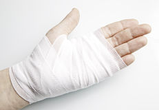 Hand bandages with inflammation Stock Photos