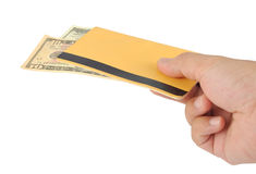 Hand with bank book. Hand takes the bank book Stock Photo