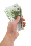 Hand with banknotes. Of one hundred euros Stock Images
