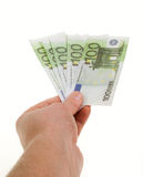 Hand with the banknotes. Of one hundred euros Royalty Free Stock Image