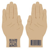 Hand with a bar code. Stock Image