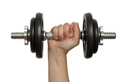 Hand with barbell Stock Image