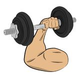Hand with barbell. body building concept vector drawing illustration royalty free stock photography