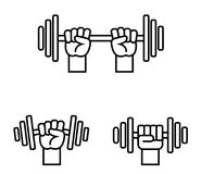 Hand with barbell Stock Photo
