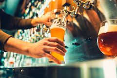 Hand of bartender pouring a large lager beer in tap. Soft, vintage instagram effect on photo. Pouring beer for client. Side view of young bartender pouring Stock Photography