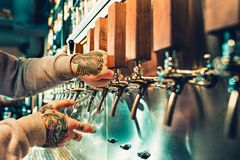 Hand of bartender pouring a large lager beer in tap. Soft, vintage instagram effect on photo. Pouring beer for client. e view of young bartender pouring beer Royalty Free Stock Photo