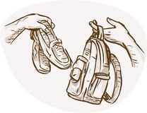 Hand Barter swapping shoes bag. Hand drawn sketched illustration of Hands Barter trading or swapping shoes and backpack or bag Stock Photo
