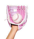 Hand of Baseball Player with Pink Glove and Ball isolated Royalty Free Stock Photography