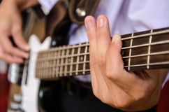 Hand for bass guitar Royalty Free Stock Images