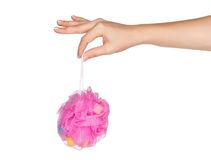 Hand with bath sponge Royalty Free Stock Image