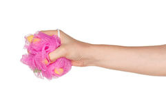 Hand with bath sponge Stock Photos