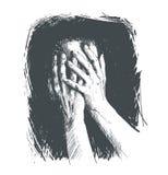 Hand-bedecktes Gesicht einer Person, die unter Leid leidet Lizenzfreie Stockfotografie