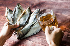 Hand with beer glass and dried fish. Stock Photography
