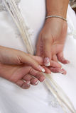 Hand Behind. A bride holding her hands behind back Royalty Free Stock Images