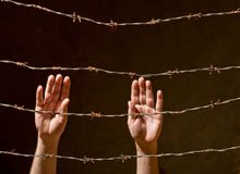 Hand behind barbed wire Stock Photography
